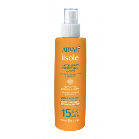 Protective body milk spray SPF 15 bottle 200 ml